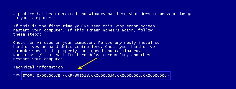 Blue screen of Death containing error code