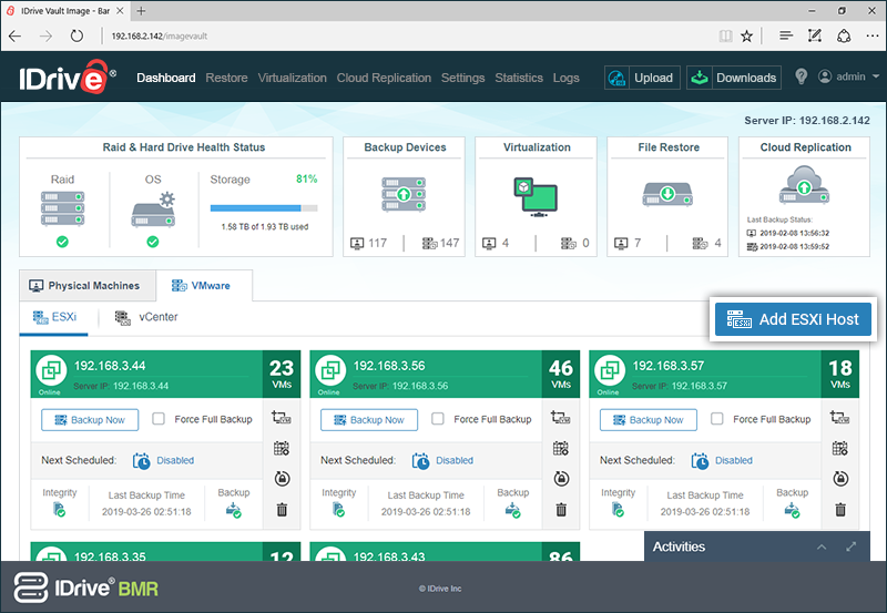 IDrive® BMR - FAQs on VMware ESXi and vCenter backup