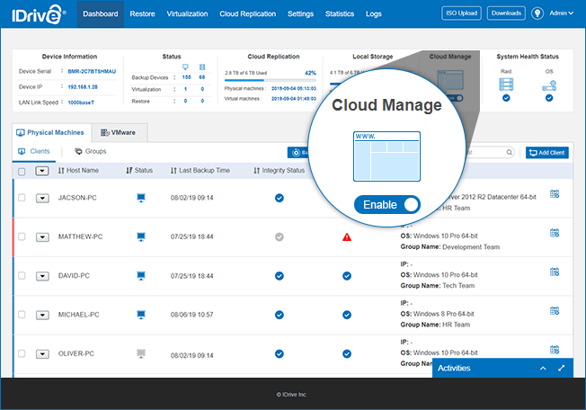 Add your ESXi hosts and vCenter servers for backup