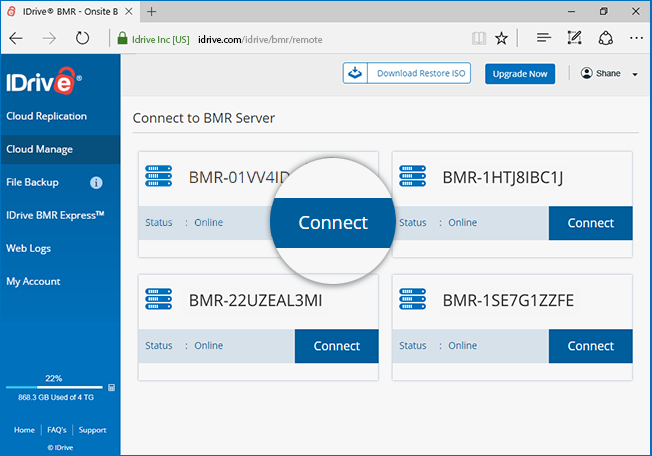 Recover backed up VMs to the same or a different VM