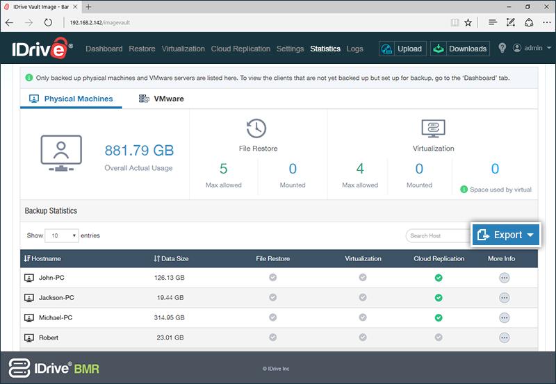 storage insights export