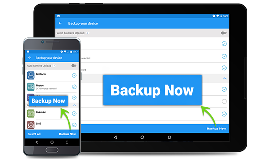 Backup, access, and share via iOS, Android and Windows Phone