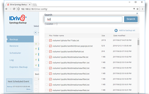 synology backup search