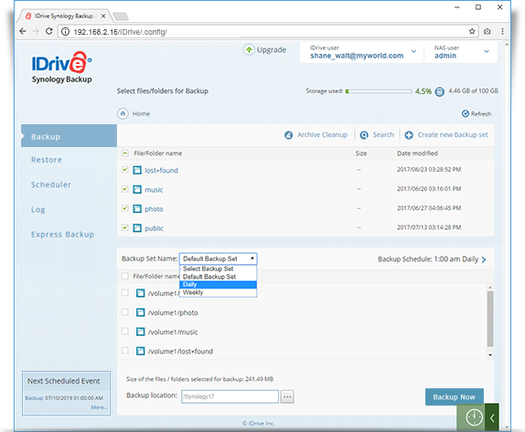 Frequently asked questions on NAS Backup – IDrive® Synology
