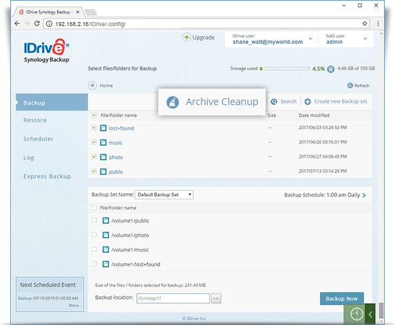 synology dashboard