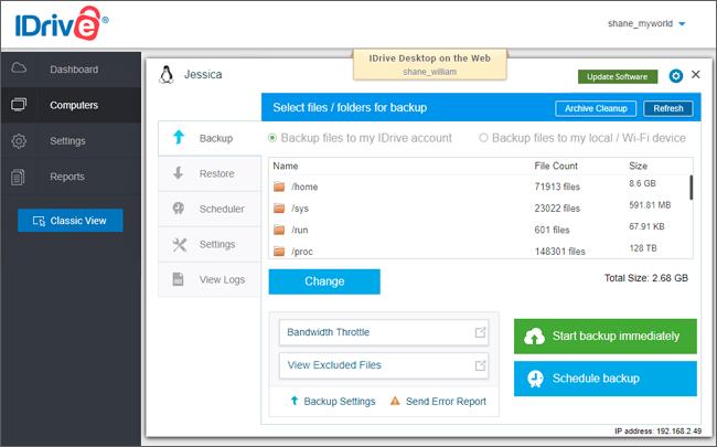 Cloud Backup for Linux Servers via IDrive® Web Console