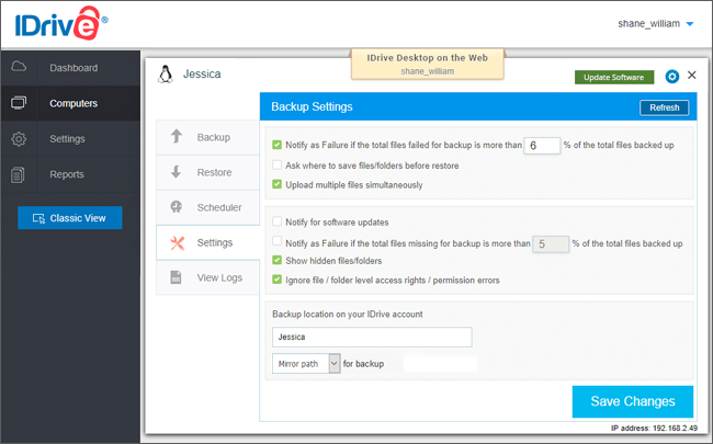 Cloud Backup for Linux Servers via IDrive® Web Console