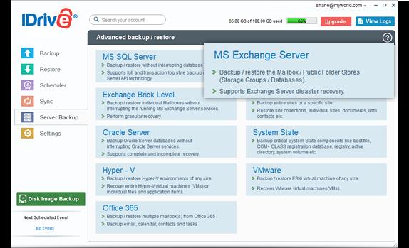 MS Exchange server backup to IDrive® cloud