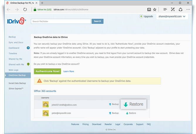 OneDrive restore