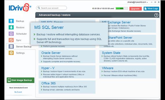 MS SQL server backup to IDrive® cloud