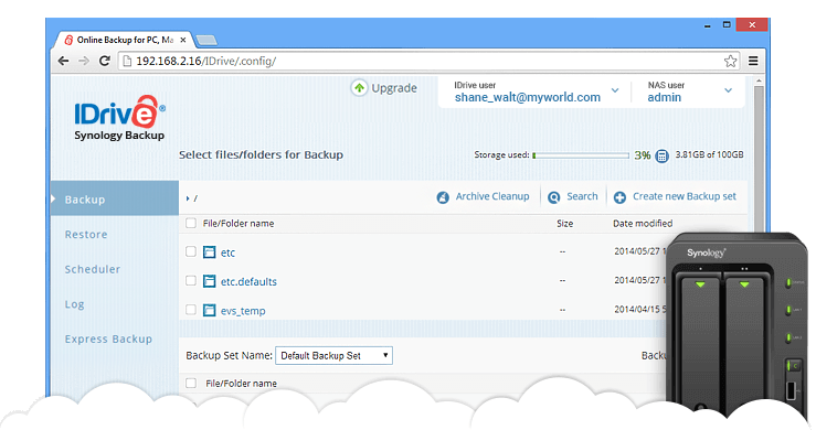 Synology backup to IDrive® cloud