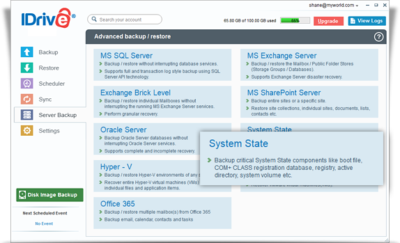 Online backup for critical system related components – IDrive
