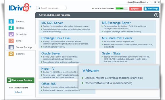 Online backup for virtual systems running on VMware